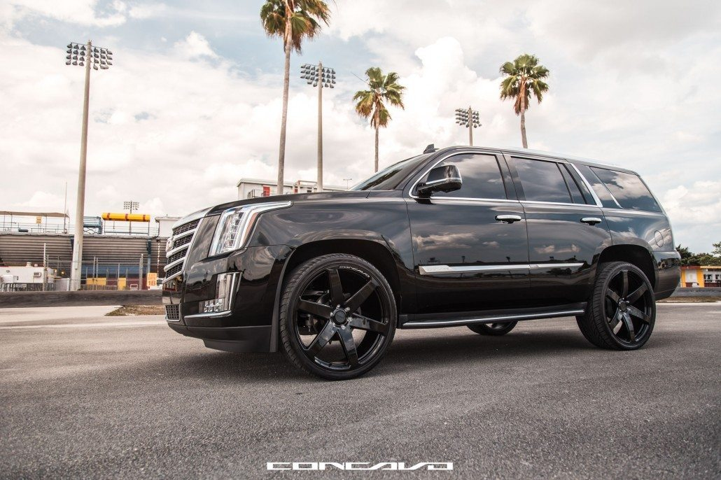 All Black Cadillac Escalade On Gloss Black CW 6s