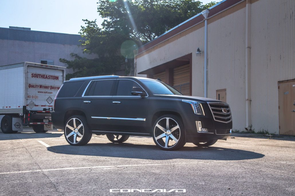 Matte Black Cadillac Escalade on 24″ CW-6 – Concavo Wheels