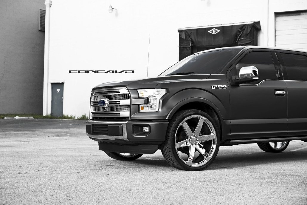 Ford F150 Platinum Matte Black on 26″ Chrome CW6 – Concavo ...